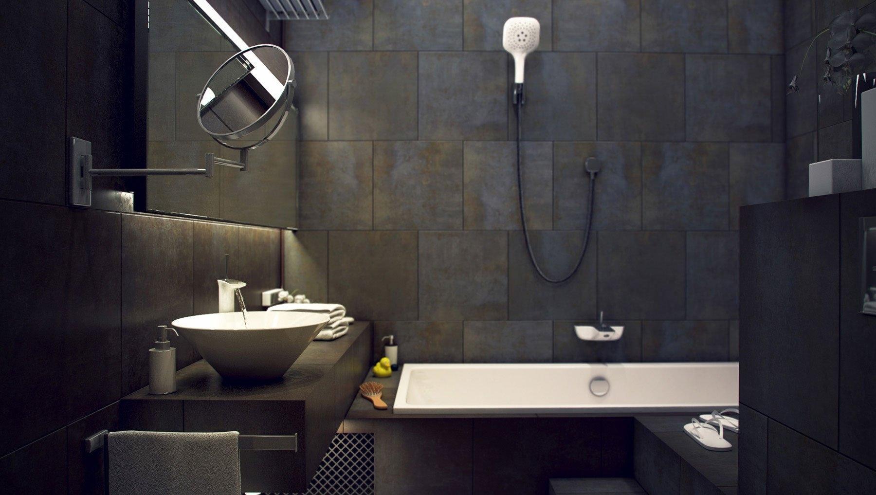 Серый цвет для ванной комнаты